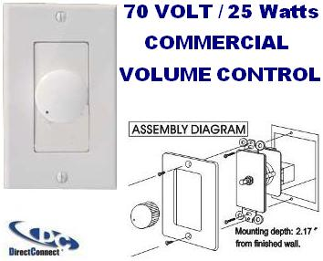 """DCVC25W70D * 24PK DIRECTCONNECT 70VOLT 25W WHITE DECORATOR 70 VOLT COMMERCIAL VOLUME CONTROL 2-1/4""""DEEP X 2-7/8"""" TALL X 1-1/2"""" WIDE"""