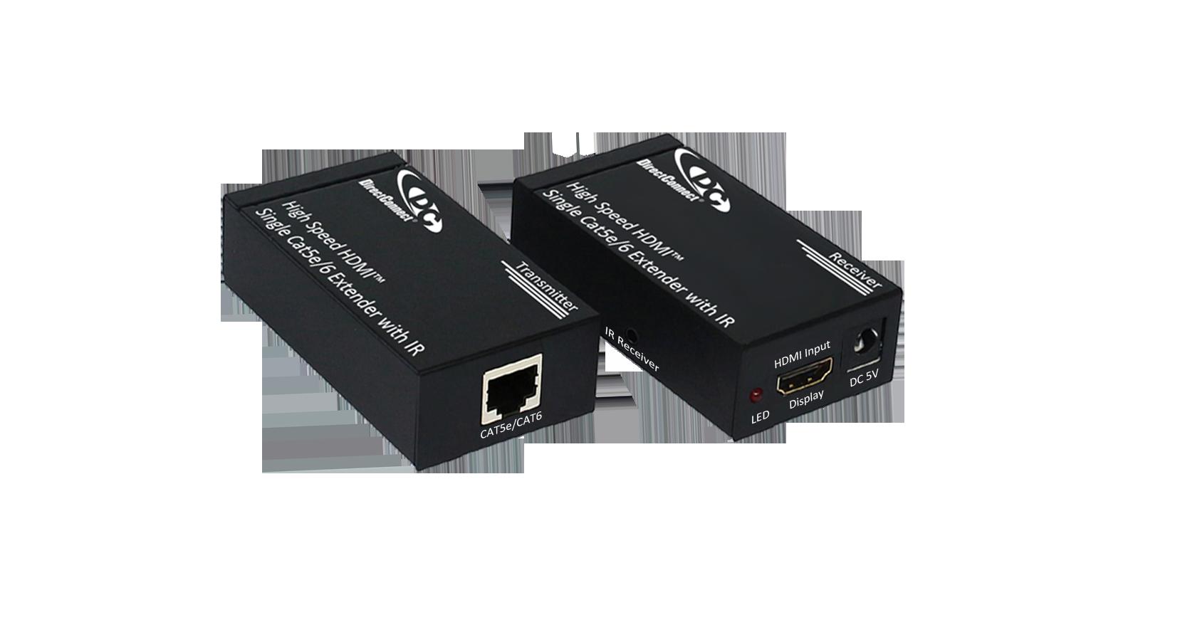 DCC5HIR-1 * DIRECTCONNECT HIGH SPEED HDMI 1080P TRANSMIT/RECEIVE VIDEO & DIGITAL AUDIO BALUN SINGLE CAT5E 1080P UP TO 40M OR 1080I 60M OR CAT6 50M AT 1080P NEW GENERATION EDID WITH DUAL 2W IR