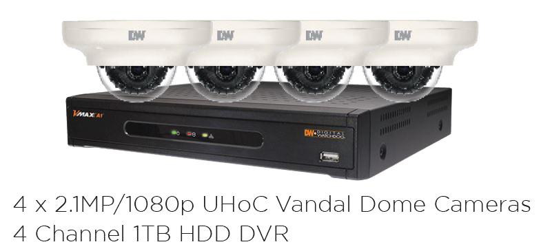 DW-VA4KIT1 DIGITAL WATCHDOG DVR/CAMERA KIT (1) 4CH 1TB VMAX DVR (4) 2.1MP 2.8-12MM STAR-LIGHT VARIFOCAL AUTO IRIS LENS DOME CAMERAS