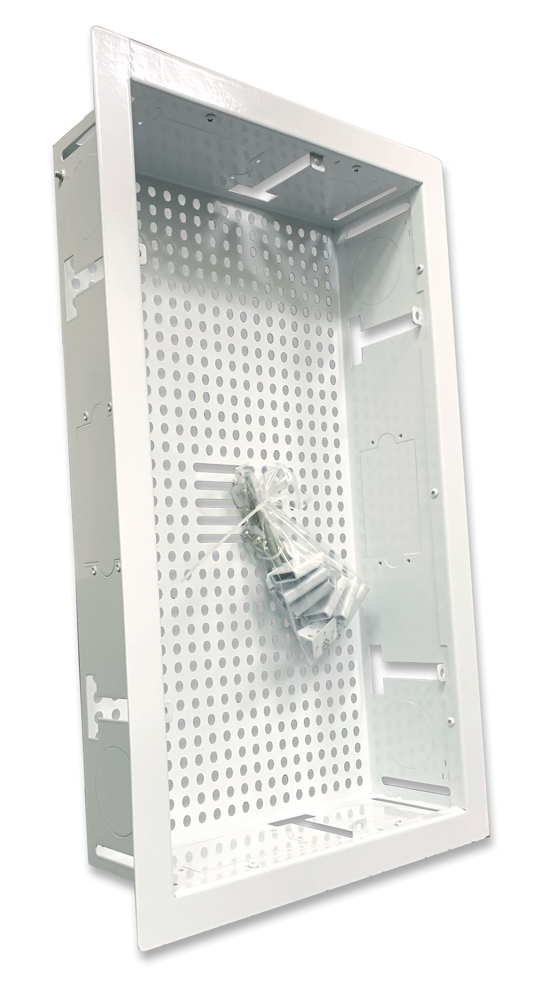 """DCTVOCBB WHITE DIRECTCONNECT FLAT PANEL BACK BOX 10"""" X 18"""" MOUNTING GRID FOR ONE CONNECT BOX OR LARGE SET TOP BOXES INCLUDED RETROFIT ADAPTER"""